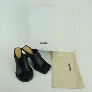 Jacquemus Black Les Mules Carr Leather Open Toe Heels w/ Box Size US 7.5 - EU 38