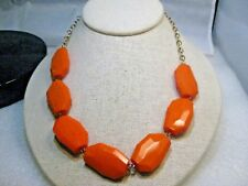 """Vintage Orange Lucite Beaded Necklace, Creamsicle, 20"""", Gold Tone, 1980's-1990's"""