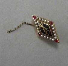 Phi Alpha Omega Gold Sorority Pin w Seed Pearls Pink Stones 10k Gold