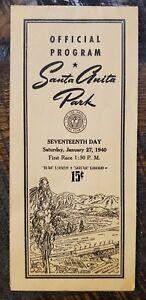 1940 Santa Anita Racing Program, KAYAK, SEABISCUIT, Kentucky Derby GALLAHADION
