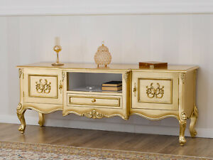 TV unit sideboard Hector French Baroque style gold leaf