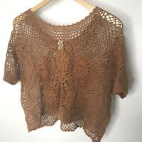 Free People Romantics Bloom Crochet Top Open Knit Festival Boho Brown Medium M