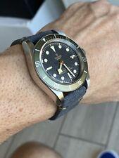 19mm DARK GRAY GREY Vintage Suede Leather Watch Strap Band DARK GREEN Stitching