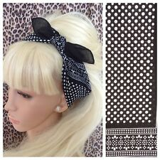 BLACK WHITE POLKA DOT PRINT COTTON BANDANA HEAD HAIR NECK SCARF 50s 60s RETRO