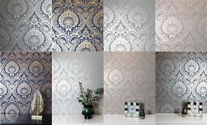 Arthouse Decoris Damask Wallpapers in Silver, Navy Gold, Gunmetal Silver