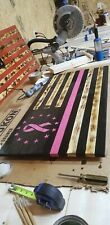 New listing Rustic Wooden American Flag Charred - Breast Cancer Awareness - Hand Carved