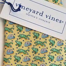 Vineyard Vines FROG & LILY PAD Yellow Green Boys Necktie Tie Silk NWT $49.50 USA