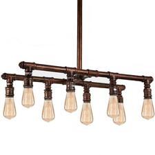 Vintage Pendant Light E27 Industrial 8 Head Copper Steampunk Pipe Lighting UK