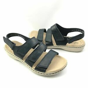 Collection By CLARKS, Ultimate Comfort Sandals Size 8M, (Dark Blue, Cream)