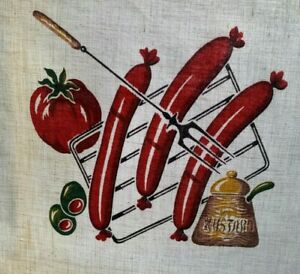 VTG 1950's tablecloth MCM Barbeque, Lobster, hot dogs, steak, 50x68 Wilendr type
