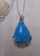 Lovely blue turquoise tear drop gemstone pendant silver plated necklace flowers