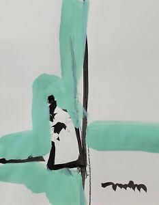 JOSE TRUJILLO ORIGINAL Art SIGNED ACRYLIC on Paper PAINTING MODERNISM Figure