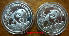 China 1990 panda 1oz silver coin small date & Large date (2 coins)