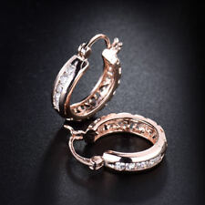 EPIC VAULT- Hollow Back Zircon Diamond Inlay Hoop Earrings-18K Rose Gold Filled