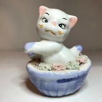 Vintage Ceramic Cross-eyed Kitten Figurine w Spaghetti Flowers Basket 50s Kitsch