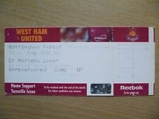 Tickets: FA Youth CUP 5th RD- WEST HAM UNITED v NOTTINGHAM FOREST, 16 Feb 2004