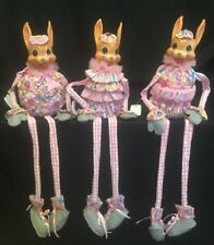 "Katherine's Collection Wayne Kleski Set Of 3 Bunny Rabbit 18"" Shelf Sitters Pink"