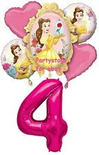 DISNEY PRINCESS BELLE BEAUTY AND THE BEAST 4TH BIRTHDAY PARTY BALLOONS BOUQUET
