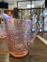 Vintage Pink Iridescent Juice pitcher Harvest Grape Pattern Imperial Glass