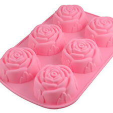 6 Rose Shape Cake Muffin Silicone Mold Mould Baking Ice Tray Random Color