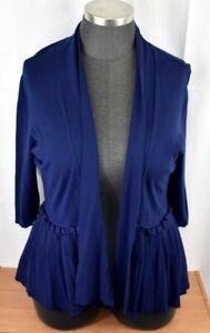Lane Bryant Navy Blue Open Front Ruffled Cardigan Sweater Plus Size 3X 22/24