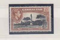 Gibraltar KGVI 1938 2/- Black Brown Perf 13 1/2 SG128a MNH JK690