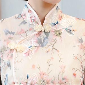 Lady Midi Dress 3/4 Sleeve Tunic Slim Fit Floral Chinese Cheongsam Qipao Elegant