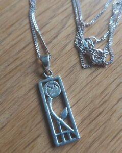 STERLING SILVER RENNIE MACKINTOSH STYLE PENDANT NECKLACE 925
