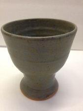 Matte greenstone WINE GOBLET thrown stoneware pottery NC potter Helen Seebold