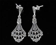 Sterling Silver Marcasite Long Drop Earrings