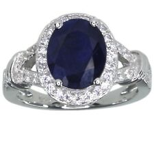 Diffusion Sapphire Gemstone Oval Sterling Silver Ring size M