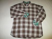 George & Martha Flip Cuff Multicolor Plaid Button Down L/S Shirt Mens XL