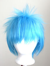13'' Spiky Short Sky Blue Synthetic Cosplay Wig NEW