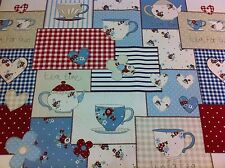 Fryett `s De Algodón Hora Del Té Azul, Shabby Chic Tela Para curtain/upholstery, artesanía,