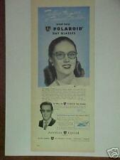 "1947 POLAROID DAY EYE GLASSES Memorabilia  ""POWERS MODEL"" PRINT AD"