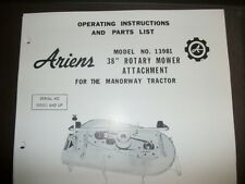 """ariens tractor 38"""" mower deck#13981 manual,illustrated parts list"""