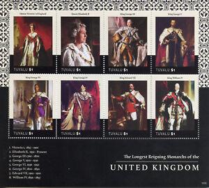 Tuvalu Royalty Stamps 2015 MNH Queen Elizabeth II Longest Reign Monarchs 8v M/S