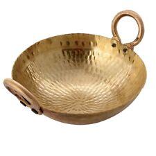 Handmade Hammered Traditional Kadai Cookware Wok Brass Round Kadhai With Handle