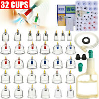 32 Cups Vacuum Cupping Set MassageSuction Massager  Acupuncture Kit Pain