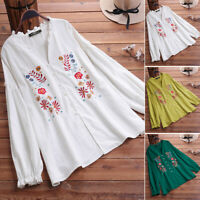 UK Womens Casual Loose Long Sleeve Floral Embroidery Shirt Tunic Top Blouse Plus