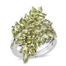 925 Sterling Silver Platinum Over Peridot Cluster Flower Ring Size 8 Jewelry