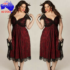 Plus Size Women Sleeveless Lace Long Evening Party Prom Gown Formal Long Dress