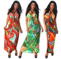 Vestito donna abito lungo multicolore dress moda mare casual feste party