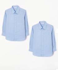 John Lewis, Boys Long Sleeve Blue School Blouse, Age 12, Pack of 2, Non-Iron