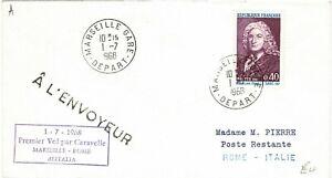 FRANCE REPUBLIQUE FRANCAISE 1968 ALITALIA FIRST FLIGHT COVER MARSEILLE ROME