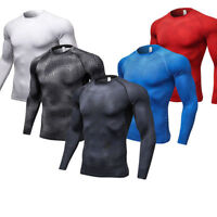 Men's Athletic Compression T shirts Sports Base Layer Spandex Tops Long Sleeve