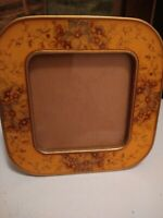 MID  CENTURY BUCKLERS INC HEAVY METAL AND ENAMEL SQUARE  FLORAL PICTURE FRAME
