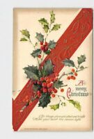 PPC POSTCARD CHRISTMAS WINSCH RED RIBBON HOLLY EMBOSSED