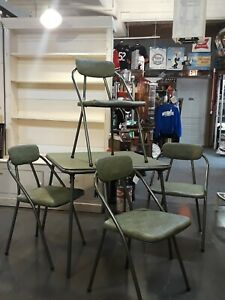 Vintage Mid Century Modern Cosco Vinyl Top Folding Round Table & Chairs Sage