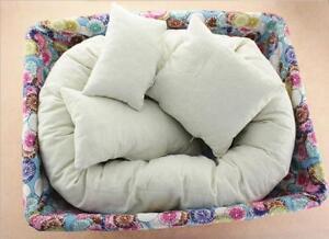 4pc Newborn Baby Photography Basket Filler Wheat Donut Posing Props White Pillow